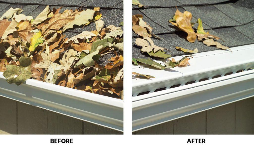 Gutters before and after the installation of LeaFree gutter protection